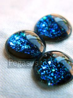 Galaxy Glass Cabochon Gem 6 Piece12mm Nebula Blue by pegasus22, $3.00