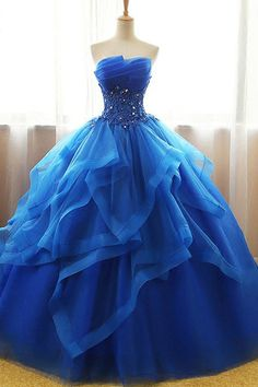 Exquisite Tulle & Organza Strapless Neckline Floor-length Ball Gown Quinceanera Dresses With Beaded Lace Appliques - Pretty dresses - Cute Prom Dresses, Sweet 16 Dresses, Pretty Dresses, Awesome Dresses, Formal Dresses, Elegant Dresses, Layered Dresses, Dresses Dresses, Summer Dresses