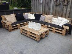 Pallet Sofa, Diy Pallet Furniture, Diy Pallet Projects, Cool Diy Projects, Furniture Projects, Home Furniture, Outdoor Furniture Sets, Furniture Design, Pallet Desk