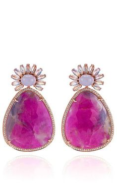 Ruby, Moonstone, And Diamonds Earrings In White Gold by Dana Rebecca for Preorder on Moda Operandi