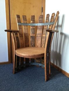 Wine Barrel Chairs, Wine Barrels, Salvaged Furniture, Bench Furniture, Bourbon Barrel Furniture, Barrel Projects, Journey 2, Pallet Chair, Outside Furniture