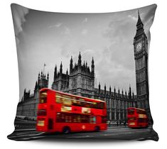 Almofada Londres Big Ben Bus Red