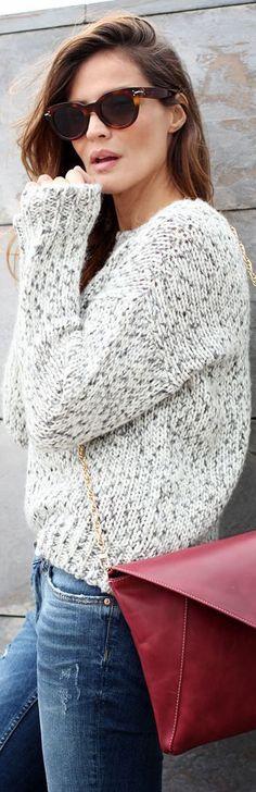 Cozy Fall Look - Knit Wear, Maroon Satchel and Skinny Jeans maroon,  knit wear -  #style