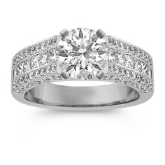 S/&H JEWELRY 2mm Solitaire CZ Set Glossy Beveled Edge and Brushed Center Stainless Steel Ring