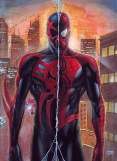 SpiderMan 2099 and SpiderMan Original by edtadeo on DeviantArt Spiderman Original, Amazing Spiderman, Marvel Comic Character, Comic Book Characters, Comic Books Art, Comic Art, Marvel Comics, Marvel Vs, Marvel Heroes