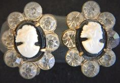 Vintage Cameo Earrings Rhinestone Screw Back Retro Costume Jewelry 3/4""