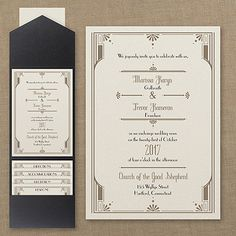 The distinguished details of art deco are displayed in the form of an alluring border that captures your wording on this pocket invitation.