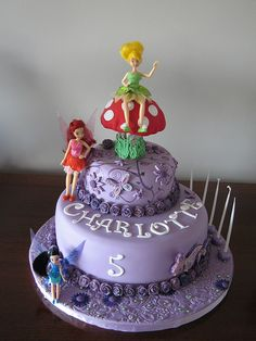 DISNEY Fairy Cake with Tinkerbell, Rosetta and SilverMist - For Bella's 5th Bday Party - something like this!