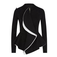 2017 Black with White Detail Vintage Ruffles Peplum Coat Jacket