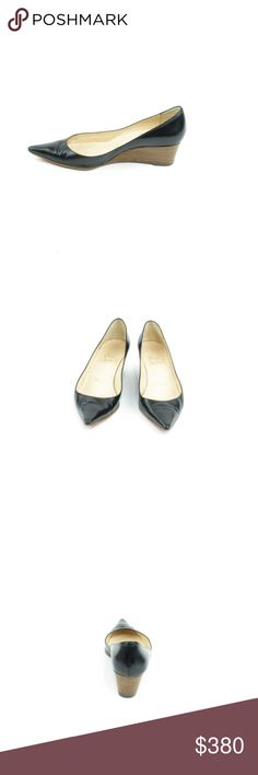 Black LeatherMedium Wedge Heel Pump (Sku 45) We offer both new and pre-owned luxury designer shoes. All shoes have been cleaned and sanitized with revolutionary ozone and UVC technology, killing and preventing fungus, bacteria and odor. We own our entire inventory and all designer shoes have be authenticated, sanitized and restored. Christian Louboutin Shoes Heels