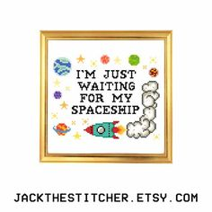 I'm Just Waiting For My Spaceship Subversive Modern Cross Stitch Template Pattern Instant PDF Download by JackTheStitcher