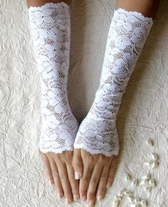 lace wedding gloves long mittens bridal fingerless by MySecretFace, $23.90