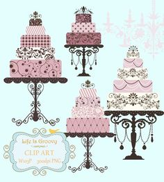 elegant lilac pink plum wedding cakes - 4 large multi tier cakes & stands unique clipart for do it yourself projects. via Etsy.