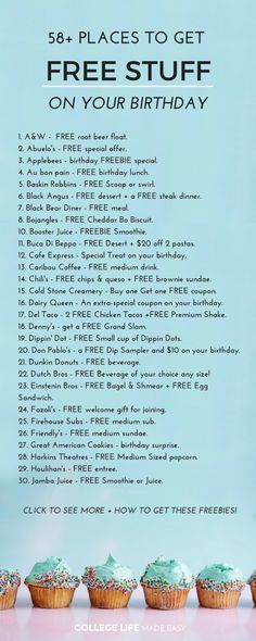 Places to Freebies on Your Birthday That's right, get free stuff just for being born! We put together this list of 58 places you can get birthday freebies, so you know where to go when your s Birthday Lunch, Birthday List, Diy Birthday, Birthday Free Stuff, Happy Birthday, Birthday Recipes, Awesome Birthday Gifts, Free On Your Birthday, Birthday Parties