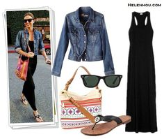 how to wear maxi dresses, what to wear with maxi skirt, Miranda Kerr, street style, Balenciaga quilted leather jacket,Celine tote, black max...