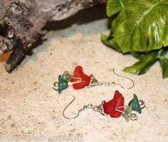 *^* Pretty Bellflower Hand Made Christmas Earrings *^*