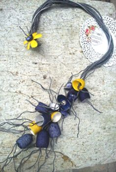 necklace with blue and yellow silk cocoons