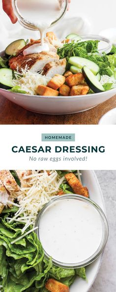 Make this homemade caesar salad dressing and drizzle it over a salad or add it to a wrap. Best Chicken Salad Recipe, Caprese Salad Recipe, Salmon Salad Recipes, Chopped Salad Recipes, Spinach Salad Recipes, Greek Salad Recipes, Healthy Chef, Healthy Crockpot Recipes, Healthy Dessert Recipes