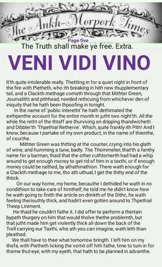 The Ankh-Morpork Times. The Truth shall make ye free. Extra. VENI VIDI VINO. Page five. by David Green 27 May 2016