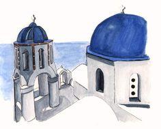 Santorini watercolor
