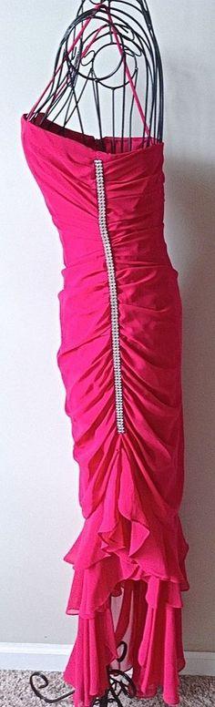 Faviana Rhinestone Dress Gown Ruched Hi Lo Asymmetric Hem Ruffled Pink 3/4 #Faviana #AsymmetricalHem