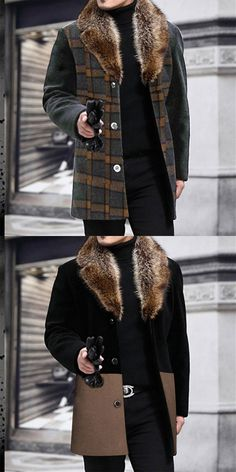 Stylish Shirts, Stylish Outfits, Mode Masculine, Balmain Men, Outfits Hombre, Fur Collar Coat, Winter Hoodies, Men's Coats And Jackets, Gentleman Style