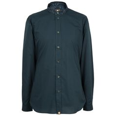 LS Navy Paisley Collarless Shirt | Pretty Green | Designer fashion from Liam Gallagher