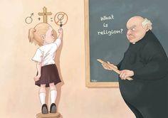 'What is religion?' - Ilustraciones críticas de la sociedad - Luis Quiles