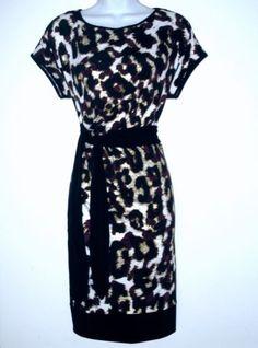 Calvin Klein CK Dress Medium M Med Leopard Print Stretch Tie-Waist NWT