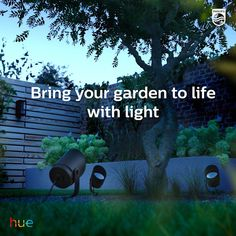 Install outdoor lights that connect to the Philips Hue smart lighting system and enjoy endless possibilities of bringing your outdoor to life with light. Wall Lighting, Lighting Ideas, Lighting Design, Outdoor Lighting Landscape, Spot Lights, Outdoor Light Fixtures, Backyard, Patio, Colorful Garden