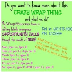 Get on tonight at 5:30 central time to hear my team's opportunity call! The call will be muted and you will remain completely anonymous! Just listen. If you've been curious...now is a great opportunity to find out what I do! :-) Then, if you have any questions or want to talk about it msg or text me and we'll set up a time to talk! 918-774-5268 or https://www.facebook.com/JannaWrapsANewYou