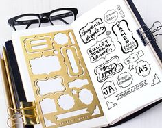 Brushed brass metal stencil for your planner or journaling. Material: ------- 0.3mm Brass Size:---------------4 x 7 Fits: Midori Regular Travelers Notebook A5 Organizer/Notebook SHIPPING FEE (with tracking): * Delivery time: Approx. 7 -21 days UNITED STATES: US$3.50 (first item) US$0.65 (each additional item) FRANCE, JAPAN US$4.00 (first item) US$0.65 (each additional item) AUSTRALIA, NEW ZEALAND, GERMANY, RUSSIA, SOUTH KOREA US$4.75 (first item) US$0.65 (each additional item) ...