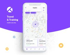 Travel and Training App Flat Web Design, App Ui Design, Map Design, Interface Design, User Interface, Design Layouts, Design Thinking, Mobiles, App Map