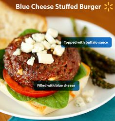 Kick up the flavor on your backyard burgers! Everybody loves burgers, but sometimes you just want to take things up a notch. Buffalo Blue Cheese Stuffed Burgers are surprisingly easy & totally tasty w (Blue Cheese Hamburgers) Grilling Recipes, Meat Recipes, Dinner Recipes, Cooking Recipes, Healthy Recipes, Healthy Eats, Recipies, Food Now, I Love Food
