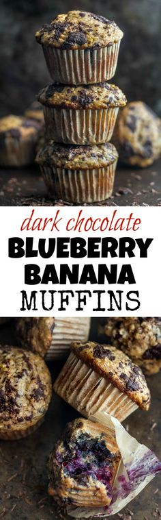 """You won't find any butter or oil in these Dark Chocolate Blueberry Banana Oat Muffins! Just plenty of chocolate and blueberry flavour in a healthy soft and tender banana oat muffin 