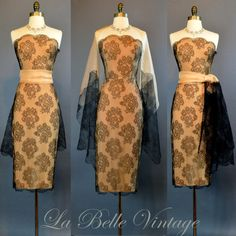 The Nude Peggy ~ Vintage 50s Strapless Illusion Lace Dress S ~ Peggy Hunt ~ Matching Shawl