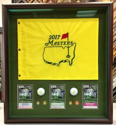 2017 Masters Golf Tournament Flag Shadow Box with Tickets and ball markers.