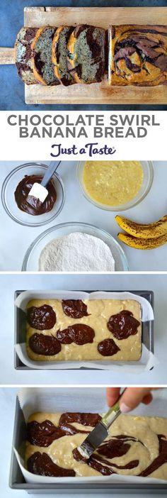 Chocolate Swirl Banana Bread recipe from justataste.com   #recipe #bananas #chocolate @justataste