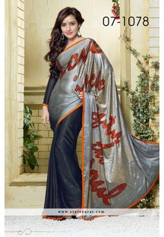 Superlative Black And Grey Color Saree Endorsed By Neha Sharma