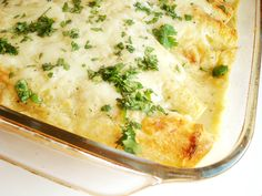 Creamy Green Chile Chicken Enchiladas - rich and creamy. will try to sub healthier alternative for next time