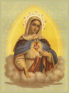 Immaculate Heart of the Blessed Virgin Mary Blessed Mother Mary, Divine Mother, Blessed Virgin Mary, Religious Images, Religious Art, Religious People, Jesus E Maria, Verge, Images Of Mary
