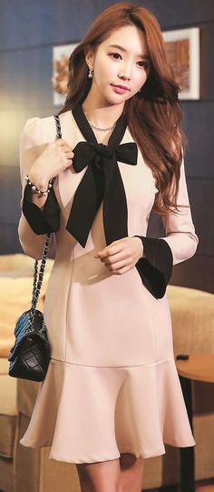 StyleOnme_No. 35459 #ribbon #flare #girly #feminine #dress
