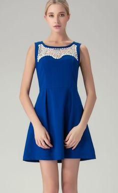 Royal Blue Sleeveless Beading Sheer Top Skater Dress