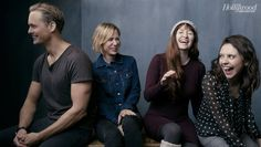 The Diary of a Teenage Girl's Alexander Skarsgard, Kristen Wiig, Marielle Heller and Bel Powley photographed at The Hollywood Reporter photobooth at the 2015 #Sundance Film Festival in Park City, Utah on Jan. 23, 2015.