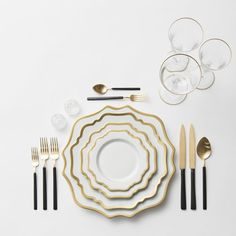 RENT: Anna Weatherley Chargers/Dinnerware in White/Gold + Axel Flatware in Matte 24k Gold/Black + Chloe 24k Gold Rimmed Stemware + Antique Crystal Salt Cellars  SHOP: Anna Weatherley Chargers/Dinnerware in White/Gold + Chloe 24k Gold Rimmed Stemware