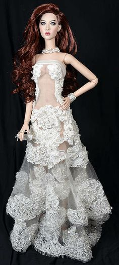 """OOAK gown """"Demure"""" for The Modsdoll and Numina small-bust dolls"""