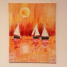 #art #malen #drawing #segelboote #gemälde #pinsel #farbe #sonnenuntergang #sunrise #sailboat #leinwand #orange by mayrpe