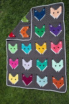Free Pattern C2C Fox Block Blanket