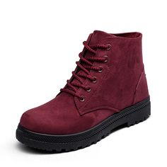 346534664877 Big Size Pure Color Suede Lace Up Ankle Casual Boots For Women SKU554258  US 17.12 US