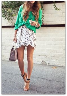 Green sweater and print skirt